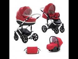 Универсальная коляска Tutis Zippy MIMI Style (3 в 1) Цвет Красный лен/белая кожа/белая рама