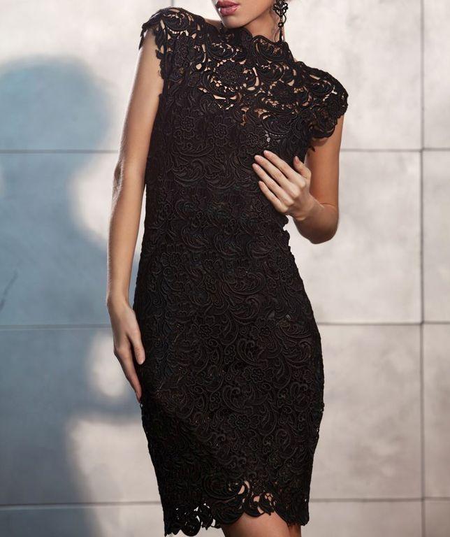 067eb0ba122ebee Черное гипюровое платье миди с маленьким рукавом кимоно и стоечкой ...