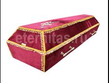 Гроб деревянный с тканевой отделкой бархат гладкий бордо