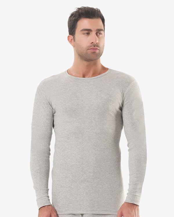 38d2834f628be Серая утепленная мужская футболка с длинным рукавом (1021). Поделиться.  Интернет-магазин