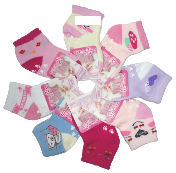 Роза, Носки бамбук + хлопок + лайкра для новорожденных, с тормозами Арт. 3536, 12 пар (1 упаковка)