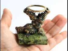 Крокодил из бронзы на подставке из змеевика (50*50*62 мм, вес 170 г) № 3469