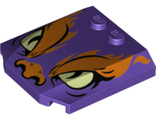 Wedge 4 x 4 x 2/3 Triple Curved with Orange Flames and Nose, Yellowish Green Eyes Pattern, Dark Purple (45677pb121 / 6288273)