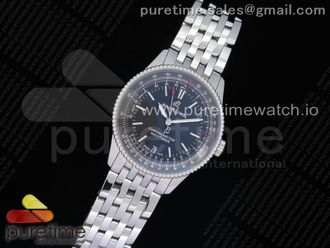 Navitimer 1 38mm SS KOR 11 Best Edition Black Dial Black Inner Bezel on SS Bracelet SW200