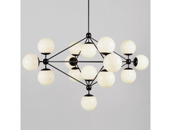 Modo Chandelier Black and White Glass 15-21 Globes designed by Jason Miller