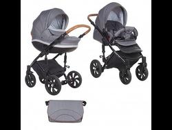 Универсальная коляска Tutis Mimi Style (2 в 1) Цвет Серый лен/серый ромб/кожа коричневая