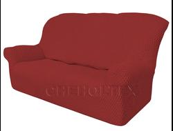 Чехол Соты на 3-х местный диван, цвет Бордовый